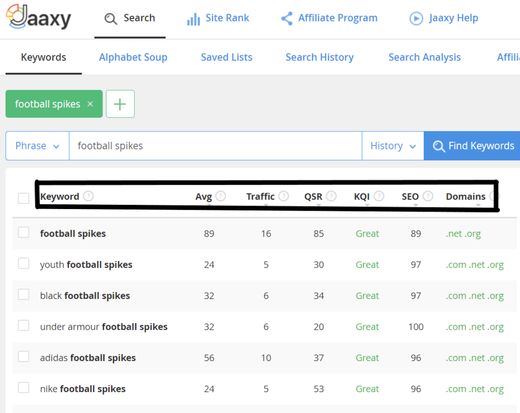 What is the Jaaxy Keyword research tool - Jaaxy Keyword Results