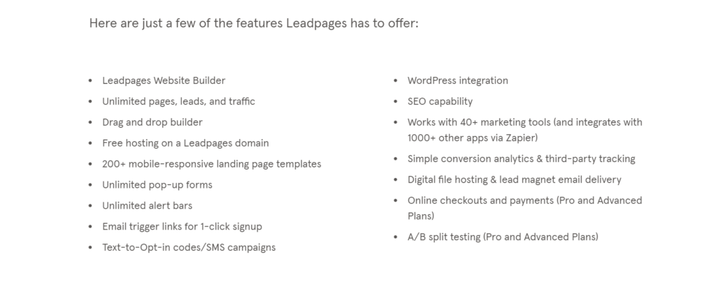 Leadpages featuers
